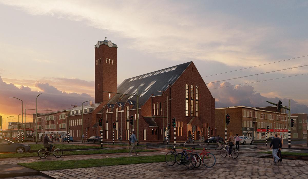 Valkenboskerk Den Haag/Ontwerp en visualisatie door Studioschaeffer - voorgevel avond.jpg